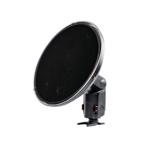 Beauty Dish Witstro AD S-3 montado en flash con panal