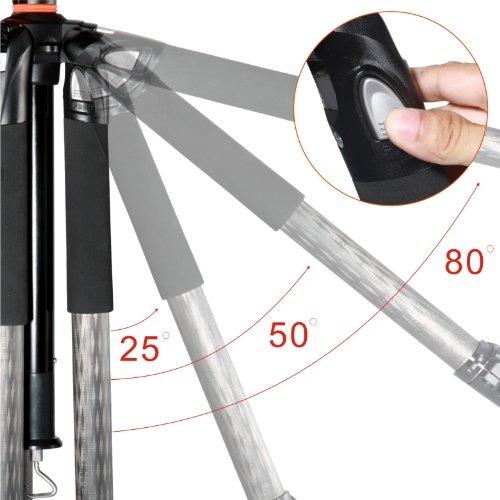Angulación disponible patas trípode Vanguard Alta Pro