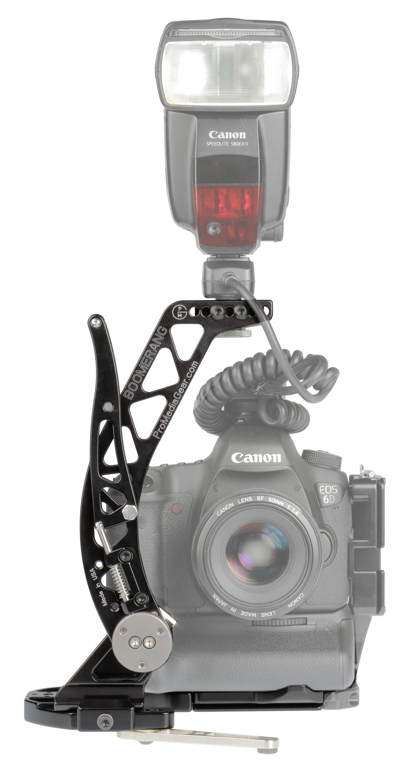 Brazo para flash compacto Boomerang BBGV 2 en cámara horizontal