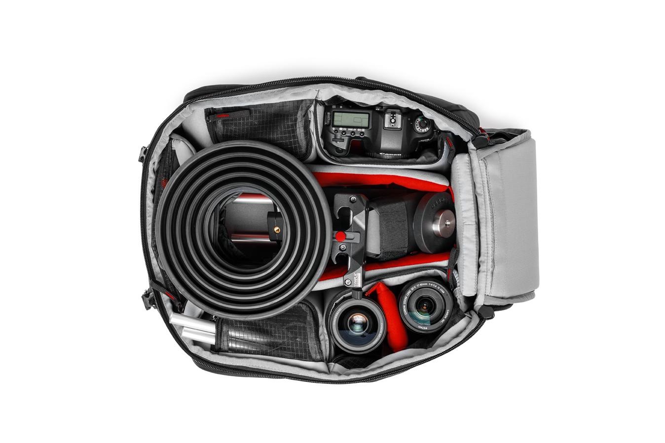 Dotación de ejemplo en la mochila de video Manfrotto Pro Light Pro-V