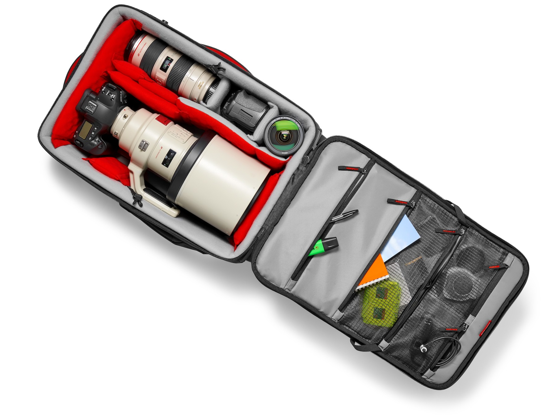 Trolley Manfrotto Pro Light Reloader 55 con dotación teleobjetivos