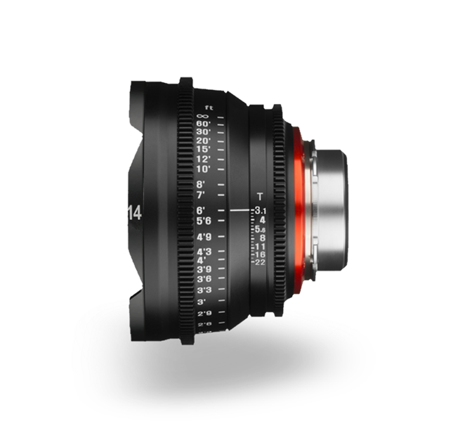 Objetivo para cine Xeen 14mm T3.1 vista lateral