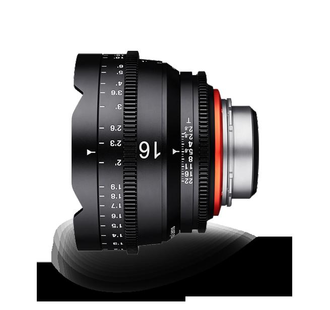 Objetivo para cine Xeen 16mm T2.6 vista lateral
