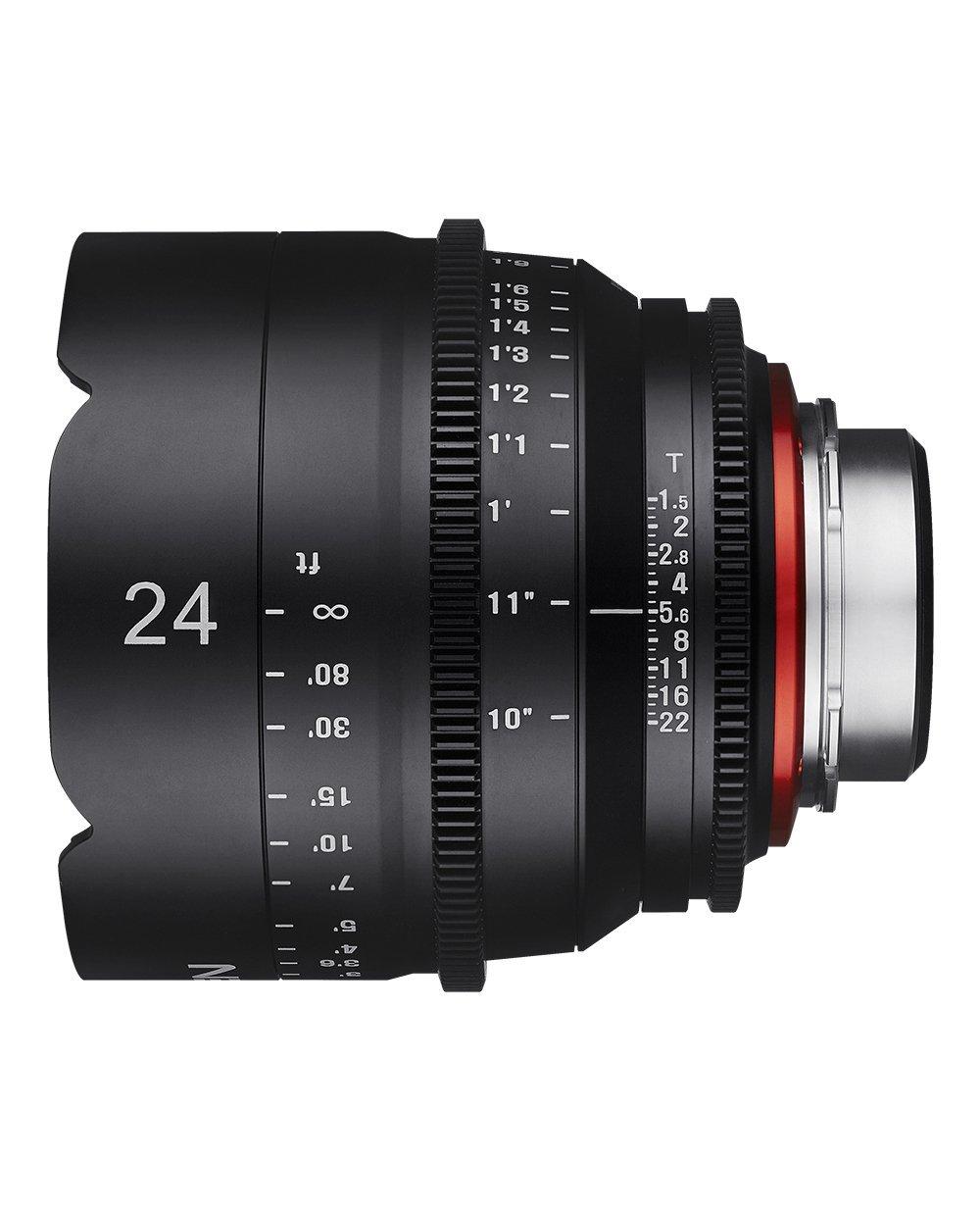 Vista lateral Samyang Diales Xeen 24mm T1.5