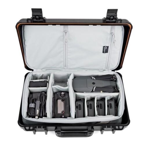 Interior Lowepro Hardside 200 vídeo con dron y accesorios