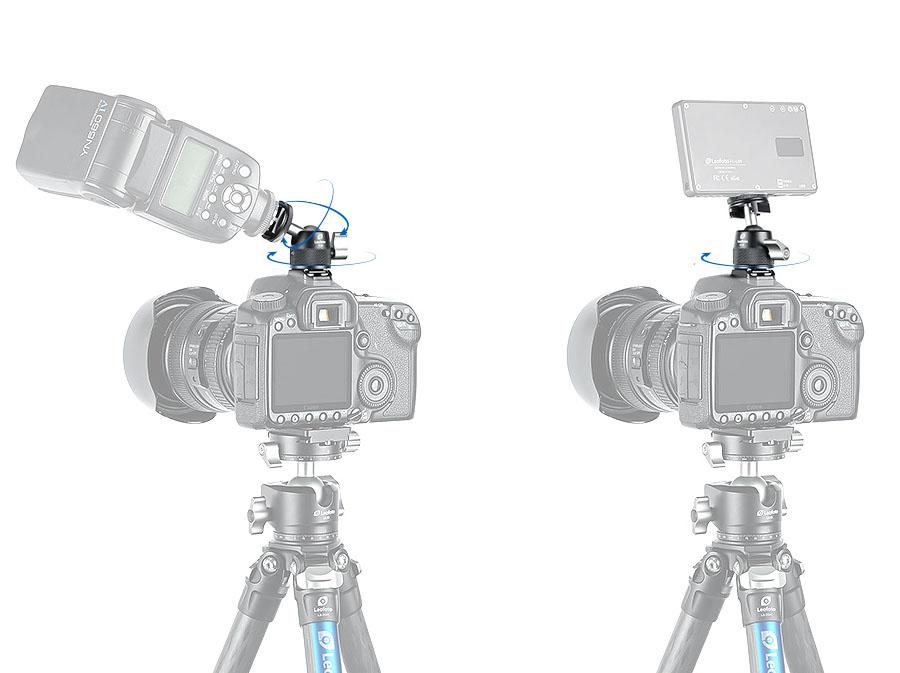 Mini rótula Leofoto F-19 para flashes, focos y accesorios